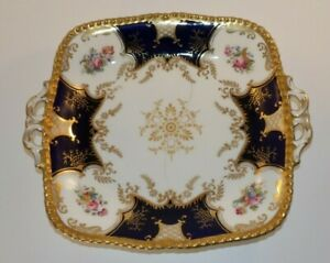 """Antique Coalport Batwing Blue Floral Gilded Handled 9 1/2"""" Serving Plate Dish"""