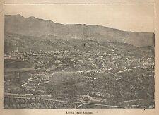 A0810 Aquila degli Abruzzi - Panorama - Stampa Antica del 1911 - Xilografia
