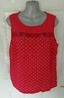 ❤ NEXT Size 14 Raspberry Red Beige Linen Blend Shift Blouse Top Lace Neckline