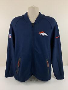 Nike Denver Broncos On Field Dark Blue Full Zip Jacket Men Sz XL NFL Dri Fit EUC