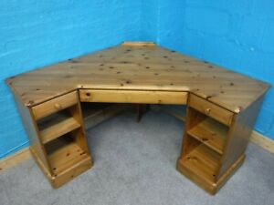 DUCAL LARGE CHUNKY CORNER SOLID WOOD COMPUTER DESK H77 W124cm- see shop