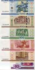 Belarus / Weißrussland 10,20,50,100,500,1000 Rubel lot 6 Banknote Bankfrisch UNC