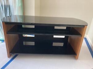 Alphason TV Stand Cabinet Unit 3 Shelf Walnut Real Wood Veneer Finewoods 1100mm