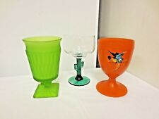 Lot 3 Older Various Footed Glasses:Frosted Indiana Brand-Libbey Cactus-HP Parrot
