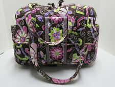 VERA BRADLEY Pink Brown Lime Green PURPLE PUNCH Lined Gym Diaper Med Duffle Bag