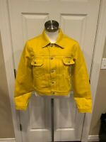 "Hudson ""Lola"" Bright Yellow Denim Jean Jacket, Size Small, NWT! $275"