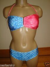 NEW O'NEILL 2 PC SWIMSUIT FREEDOM BANDEAU/HIPSTER RED/WHITE/BLUE STARS STRIPES L