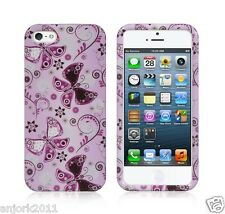 Apple iPhone 5 Snap-On Hard Cover Case Accessory Lady Butterfly Purple