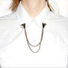 Brand Punk Triangle Stud Brooch Collar Chain Necklace Shirt Neck Collar Tips New