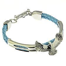 Armband Adler Kunstleder geflochten 19 cm lang hellblau D-30000