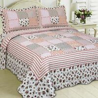 New! 3PCS SET Luxury Pink White Floral Patchwork Quilted Bedspread Country