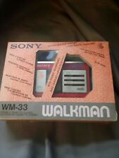 Boxed Vintage Red Sony WM-33 Walkman Personal Cassette Player- working