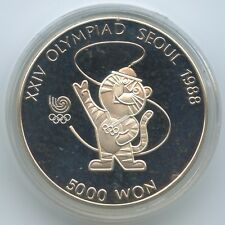 £GS1014 - Korea South 5000 Won 1986 KM#54 Olympics Tiger mascot Silver Südkorea