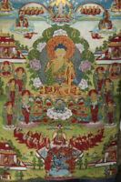 "36/"" Tibet Buddhism Six-armed black mahagala Silk Cloth Thangka Embroidery Mural"