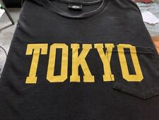 """Vintage Stussy """"Tokyo"""" Spellout Pocket T Shirt Mens Black Large Japan Flag Surf"""