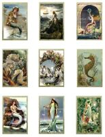 "Vintage Mermaids A Cotton Fabric Quilt Blocks (9) @ 2X3"" on 8.5X11"" Sheet"