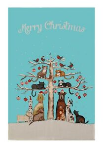 """Ulster Weavers, """"Christmas Cats & Dogs"""", Pure cotton printed tea towel."""