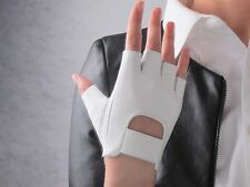 Real Leather Fingerless Short Gloves White Lambskin Genuine Sheepskin Bicycle