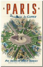 """Vintage Illustrated travel Poster CANVAS PRINT ~ Paris by Clipper 36""""x24"""""""