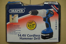 Draper 14.4V Cordless Hammer Drill Driver Two Ni-MH Batteries & Carry Case 83574