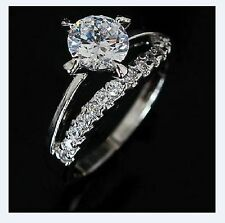 Ring of Gold White for Wedding, Anniversary, Engagement Ring with Cubic Zirconia