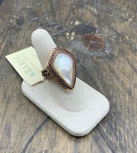 Barse La Perla Ring- Mother of Pearl & Copper- 8-NWT