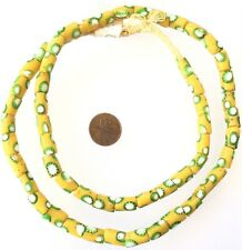 Amazing Antique Venetian Glass Yellow/W Green Cane-cased African Trade Beads