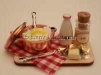 Dolls house food: Mashing mashed potatoes prep board  -By Fran