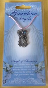 Angel Of Harmony Silver Pewter Pendant On A Waxed Cord
