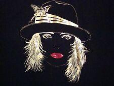 Vintage Flapper Girl Cloche Hippie 70's 80's Fashion Hat Hipster Punk T Shirt L