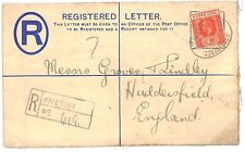 Q18 1918 SIERRA LEONE KGV Registered Postal Stationery to GB Huddersfield Yorks