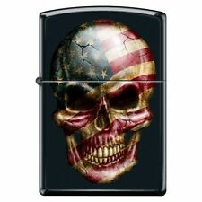 Zippo Lighter American Flag Skull Face Black Matte Custom Stars and Stripes