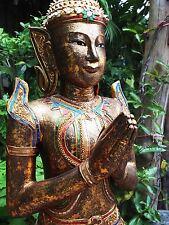 Tempio guardiani, Sentinel, alta 93cm, ORO ANTICO, legno, sacrificata, certificato, Thailand,