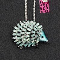 Betsey Johnson Enamel Crystal Cute Hedgehog Pendant Animal Necklace/Brooch Pin