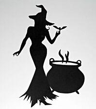 GRANDE Unico Halloween strega con Calderone Die Cut Silhouette Decor (29cmx20cm)