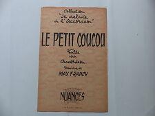 Partition Le petit coucou valse pour accordéon MAX FRANCY