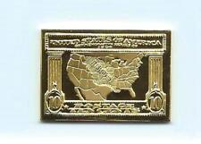 1904 United States Louisiana Purchase Cent Stamp 24 Karat Gold Over Solid Silver