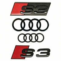 Audi S3 + Rings Gloss Black Grille & Boot Badge Emblem Set - Full Black Out Set