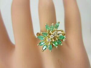 14k Yellow Gold Emerald and Diamond Cluster Ring 1.05 carats
