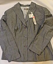 NWT NICOLA (MADE IN ITALY) Womens Lt. Gray Pin Stripe Dress Jacket-Sz 16-Lined