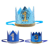 Blue Glitter Baby Boy Girl 1st Birthday Crown Party Hat Headband Decoration