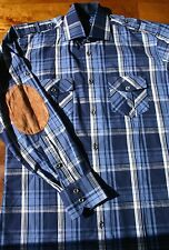 NWOT JARED LANG blue plaid western shirt suede elbow patches cowboy S small