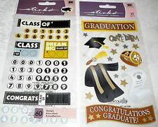GRADUATION Stickers by Sticko - Lot of 2 Packages - CLASS OF' & GRADUATION