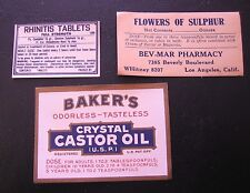 VTG Paper Labels Bakers Crystal Castor Oil Rhinitis Tabs Flowers of Sulphur