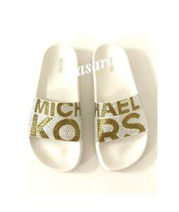 Women MK Michael Kors Gilmore Slide Slip On Sandals Rhinestone Vanilla/Gold