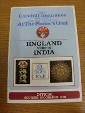 23/08/1990 Cricket programme: England v India [à l'ovale] (léger pli). Bobf