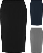 New Womens Plus Lined Black Slit Pencil Skirt Office Plain Work Formal Lined New