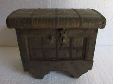 Antique Vintage Handcrafted Brass Iron Fitted Wooden Treasure Vanity Jewelry Box