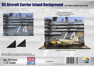 Coastal Kits 1:72 US Aircraft Carrier Island Background with attachment clips