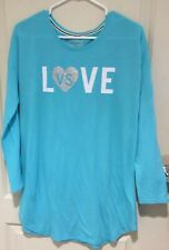 Victoria Secret Woman's Night Shirt, Long Sleeves, Blue Turquoise, Size PS